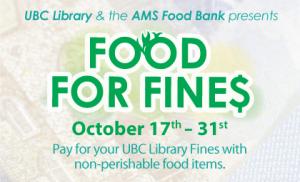 Food For Fines returns October 17 – Nov. 7