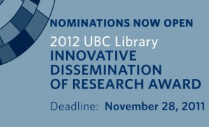 Innovative Dissemination of Research Award 2012