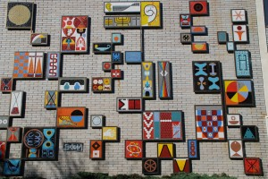 The colourful mosaic on the side of UBC's Brock Hall.