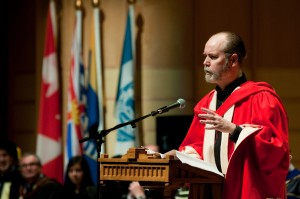 Douglas Coupland speaks to UBC graduates after accepting his honorary degree in 2010. Photo: Martin Dee.