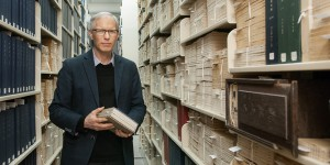 Alvan Bregman in the Rare Books and Special Collections vault