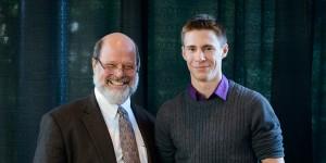 Dr. John W. Hepburn, Vice President Research & International at UBC and Rowan Cockett, award winner.