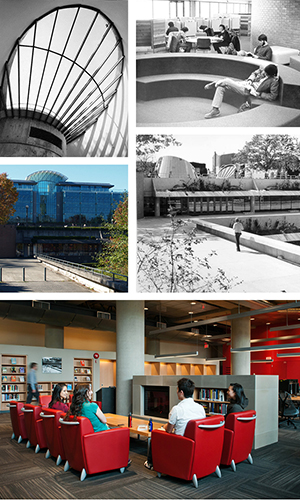 Photos of Koerner and Sedgewick libraries