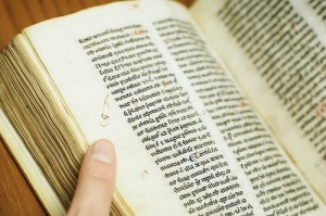 Detail from Compendium Theologicae Veritatis, the oldest book in UBC Library's collections. Photo credit: Martin Dee