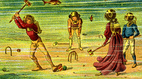 people playing croquet underwater