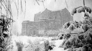 Main Library in a blizzard, 1935. Photo courtesy of University Archives.