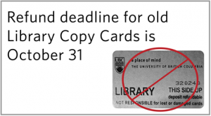 Old Library Copy Card refund deadline: Oct. 31