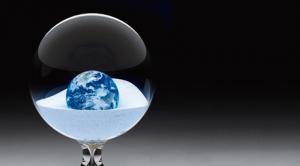 globe in sand box