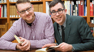 Justin O'Hearn, PhD candidate in Victorian literature at UBC and Gregory Mackie, Assistant Professor in UBC's Department of English. Photo Credit: Don Erhardt