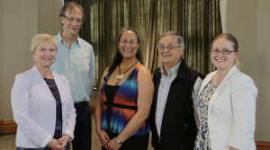From left to right: Ingrid Parent (University Librarian), Linc Kesler (First Nations House of Learning), Anahera Moheru (University of Auckland), Elder Larry Grant (Musqueam First Nation), and Sarah Dupont (UBC Library's Aboriginal Engagement Librarian).