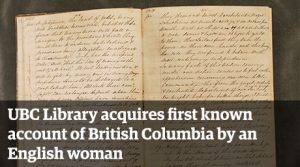 UBC Library acquires first known account of British Columbia by an English woman