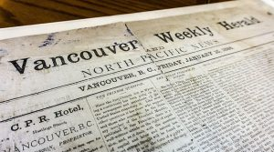This is the first thing that was ever printed in Vancouver