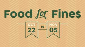 Food for Fines 2018 runs from October 22 until November 5