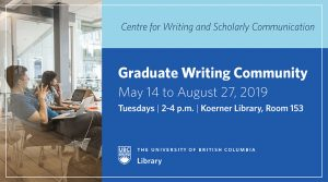 Graduate Writing Community runs from May 14 to August 27