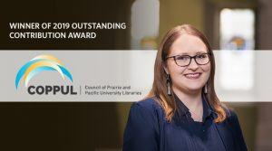 Sarah Dupont, Head, Xwi7xwa Library wins the 2019 COPPUL Outstanding Contribution Award